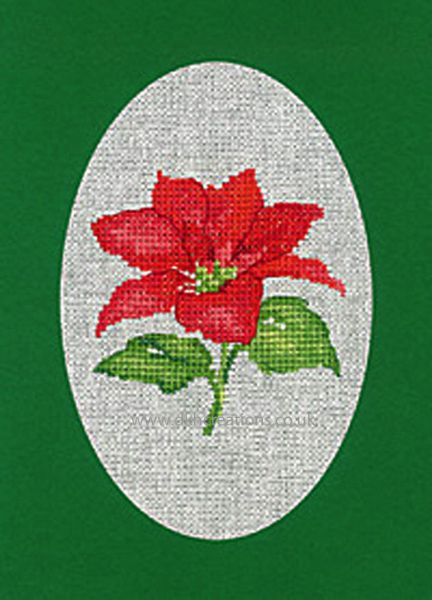 Sue Hill Christmas Poinsettia Greeting Card Green Cross Stitch Kit